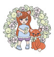 fox babies spring girl animal wreath set vector image vector image