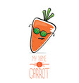 funny cartoon orange carrot isolated vector image vector image