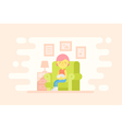 Girl sitting in a cozy armchair with a cat vector image vector image