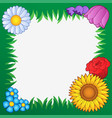 grass frame with flowers 2 vector image