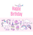 happy birthday holiday card with cloud fireworks vector image vector image