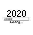 happy new year 2020 with loading icon pixel art vector image