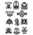 heraldic icons of nautical marine seafarer vector image vector image