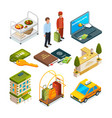 hotel reception isometric set of motel services vector image