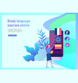 landing page templates for online language courses vector image vector image