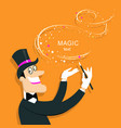 magician doing a trick with magic wand background vector image vector image