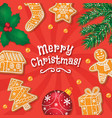 merry christmas card banner gingerbread cookies vector image