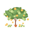 money tree in pot with cash on branches plant vector image