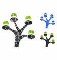 money tree mosaic icon circles vector image vector image