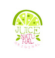 natural original juice logo template lime fresh vector image vector image