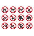 no dogs allowed dog prohibition sign set vector image vector image
