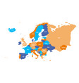 political map of europe continent in four colors vector image vector image
