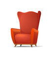 red comfortable cartoon armchair vector image