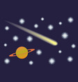 Saturn and Comet in the starry sky vector image