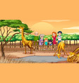 scene with people at zoo vector image vector image