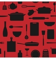 seamless pattern kitchen silhouettes vector image vector image