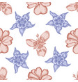 seamless pattern with hand drawn pastel impatiens vector image vector image