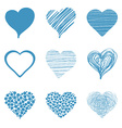 set hand drawn sketch hearts for valentines day vector image vector image