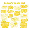 set stickers with lettering inside todo list vector image