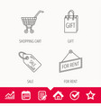 shopping cart gift bag and sale coupon icons vector image vector image