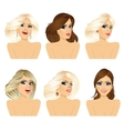 six attractive caucasian women faces vector image