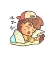 Sleeping Girl In Cap Choker And Blue Top Hand vector image vector image