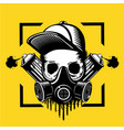 street art artist skull in a protective mask vector image vector image