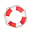 striped red and white lifebuoy with rope around vector image