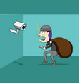 thief shocked while cctv detected a robber vector image vector image