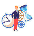 time concept timer and hourglass cogwheels and man vector image vector image