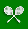 two tennis racket sign paper whitish icon vector image vector image