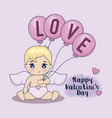 valentine day card and cupid with balloons helium vector image vector image