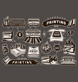 vintage monochrome screen printing elements set vector image vector image