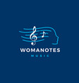 woman notes music logo icon vector image vector image