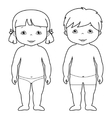 coloring page of cute baby boy and girl vector image