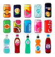 different drinks in metallic cans vector image