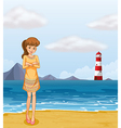A pretty girl at the beach vector image