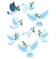 a set world pigeons with a branch an olive vector image