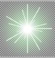 abstract laser beams with sparks green color vector image vector image
