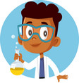 african student boy taking a science chemistry vector image