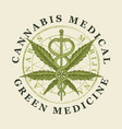 banner for medical cannabis green medicine vector image vector image