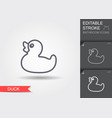 bath duck line icon with editable stroke with vector image
