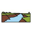 beautiful river landscape vector image vector image