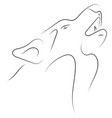 black and white hand drawn linear sketch of wolf vector image vector image