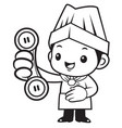 black and white happy chef mascot please call me vector image vector image