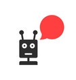 black chatbot with speech bubble vector image