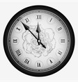 black realistic vintage clock with carnation vector image vector image