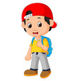 boy with backpacks cartoon vector image vector image