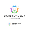 Bright Colorful Twisted Logo with United People vector image vector image