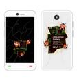 broken smartphone with bugs vector image